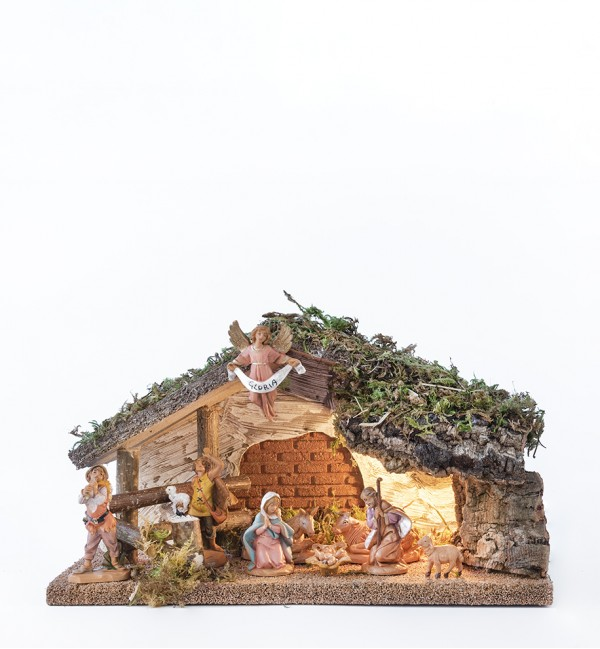 Hütte Nr. 405/L mit 9 Elementen für Krippe Höhe 6,5 cm mit Licht
